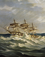 0369153 © Granger - Historical Picture ArchiveHISTORY.   Frigate in the stormy sea, oil on canvas, Italy. Full Credit: De Agostini / A. Dagli Orti / Granger, NYC -- All Rights Reserved.