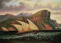 0369192 © Granger - Historical Picture ArchiveHISTORY.   Felucca in Gibraltar, by Thomas Chambers (1810-1866), oil on canvas. Full Credit: De Agostini Picture Library / Granger, NYC -- All rights reserved.
