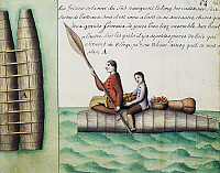 0369208 © Granger - Historical Picture ArchiveHISTORY.   Balds, traditional boats used by natives, watercolour from Periple de Beauchesne a la Terre de Feu, 1698-1701, une expedition mandatee par Louis XIV. South America, 17th-18th century. Full Credit: De Agostini / M. Seemuller / Granger, NYC -- All Rights Reserved.