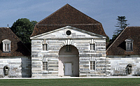 0369216 © Granger - Historical Picture ArchiveHISTORY.   A building at the Royal Saltworks (Saline Royale), Arc-et-Senans, Franche-Comte, France. Detail. Full Credit: De Agostini Picture Library / Granger, NYC -- All rights re