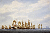 0369321 © Granger - Historical Picture ArchiveHISTORY.   Departure of a squadron of nine ships, three frigates and three corvettes, watercolour by Francois Roux (1811-1882), France, 19th century. Full Credit: De Agostini / M. Seemuller / Granger, NYC -- All rights reserved.