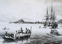 0369369 © Granger - Historical Picture ArchiveHISTORY.   The corvette Uranie at anchor in the bay of Rawak, engraving from Journey around the world, 1817-1820, by Louis de Freycinet (1779-1842). New Guinea, 19th century. Full Credit: De Agostini / M. Seemuller / Granger, NYC -- All rig