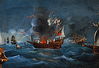 0369414 © Granger - Historical Picture ArchiveHISTORY.   The galleon the Great Harry, flagship of the English fleet, oil on canvas, by an unknwon artist, 17th century. Full Credit: De Agostini / A. Dagli Orti / Granger, NYC -- All Rights Reserved.