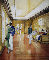 0369673 © Granger - Historical Picture ArchiveHISTORY.   Scenes of life on board the Lloyd company ship, the Victoria in the 1930s, watercolour by Francesco Lempart, Italy, 20th century. Full Credit: De Agostini / A. Dagli Orti / Granger, NYC -- All rights reserved.