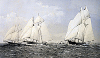 0369779 © Granger - Historical Picture ArchiveHISTORY.   Start of the Great Atlantic Race (America's Cup) in December, 1866, colour lithograph by Dutton, 1867 19th century. Full Credit: De Agostini / A. Dagli Orti / Granger, NYC -- All Rights Reserved.