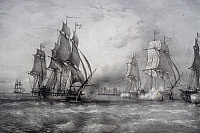 0369780 © Granger - Historical Picture ArchiveHISTORY.   Paul Jones attacking the British fleet commanded by Pearson and arriving from the Baltic Sea, 1793, lithograph by Ferdinand Perrot, 19th century. Full Credit: De Agostini / A. Dagli Orti / Granger, NYC -- All rights reserved.