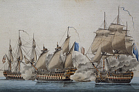 0369782 © Granger - Historical Picture ArchiveHISTORY.   French 74-gun ship being attacked by two English ships, December 14, 1800, colour lithograph by an unknown artist, 19th century. Full Credit: De Agostini / A. Dagli Orti / Granger, NYC -- All rights reserved.