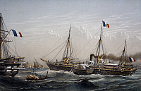 0369783 © Granger - Historical Picture ArchiveHISTORY.   The French imperial yacht the Aigle, built in the Cherbourg shipyard, colour lithograph by Lebreton, 19th century. Full Credit: De Agostini / A. Dagli Orti / Granger, NYC -- All Rights Reserved.