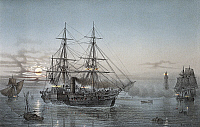 0369784 © Granger - Historical Picture ArchiveHISTORY.   Steam frigate in the port of Valletta (Malta), nigghttime, colour lithograph by Lebreton, 19th century. Full Credit: De Agostini / A. Dagli Orti / Granger, NYC -- All ri.
