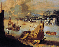 0369825 © Granger - Historical Picture ArchiveHISTORY.   Ships under construction in the port of Livorno, oil on canvas, by Agostino Tassi, Italy, 17th century. Full Credit: De Agostini / A. Dagli Orti / Granger, NYC -- All ri.