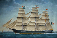 0369847 © Granger - Historical Picture ArchiveHISTORY.   The Clipper Cosmos, shipowners the Brothers Frassinetti from Genoa, 1868, watercolour by Angelo Arpe, Italy, 19th century. Full Credit: De Agostini / A. Dagli Orti / Granger, NYC -- All Rights Reserved.