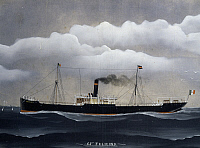 0369908 © Granger - Historical Picture ArchiveHISTORY.   Steamship the SS Felicina di Camogli, 1907, watercolour by an unknown artist, Italy, 20th century. Full Credit: De Agostini / A. Dagli Orti / Granger, NYC -- All rights
