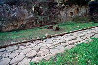 0410269 © Granger - Historical Picture ArchiveARCHAEOLOGY.    Paved section of Via Armerina, near the Fosso dei Tre Ponti, Falerii Novi, Lazio, Italy. Roman civilisation. Full credit: De Agostini / S. Vannini / Granger, NYC -- All Rights Reserved.