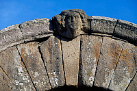 0410271 © Granger - Historical Picture ArchiveARCHAEOLOGY.    Jupiter's gate, detail from the supporting arch, city walls, Falerii Novi, Lazio, Italy. Roman civilisation. Full credit: De Agostini / S. Vannini / Granger, NYC -- All Rights Reserved.