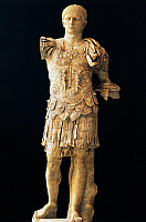 0410689 © Granger - Historical Picture ArchiveARCHAEOLOGY.    Statue of Titus Flavius ??Domitian, Roman Emperor from 81 to 96, from Vaison-La-Romaine, Provence-Alpes-Cote d'Azur, France. Roman civilisation. Full credit: De Agostini / C. Sappa / Granger, NYC -- All rights reserved.