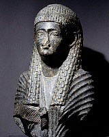 0410842 © Granger - Historical Picture ArchiveARCHAEOLOGY.    Ptolemaic queen, granite statue found at Fouah. Egyptian Civilisation, Ptolemaic Period, 1st century BC. Full credit: De Agostini / S. Vannini / Granger, NYC -- All Rights Reserved.
