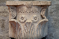 0410942 © Granger - Historical Picture ArchiveARCHAEOLOGY.    Roman capital from Ferento, Viterbo, Lazio, Italy. Roman civilisation, 4th century. Full credit: De Agostini / S. Vannini / Granger, NYC -- All rights reserved.