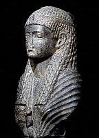 0411325 © Granger - Historical Picture ArchiveARCHAEOLOGY.    Ptolemaic queen, granite statue, found in Fouah. Egyptian Civilisation, Ptolemaic Period, 1st century BC. Full credit: De Agostini / S. Vannini / Granger, NYC -- All Rights Reserved.