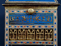 0411358 © Granger - Historical Picture ArchiveARCHAEOLOGY.    End panel of Tjuyu's casket of jewels, wood, gold leaf, faience, painted ebony and ivory, dating from the reign of Amenhotep III, from the Tomb of Yuya and Tjuyu, Valley of the Kings, Thebes. Egyptian Civilisation, New Kingdom, Dynasty XVIII. Full credit: De Agostini / S. Vannini / Granger, NYC -- All Rights Reserved.