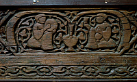 0411384 © Granger - Historical Picture ArchiveARCHAEOLOGY.    Musicians, detail from a carved decorative panel, wood, from the Fatimid Western Palace in Cairo. Fatimid period, 11th century. Full credit: De Agostini Picture Library / Granger, NYC -- All rights reserved.