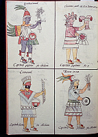 0411619 © Granger - Historical Picture ArchiveARCHAEOLOGY.    Quetzalcoatl, Chicomecoatl, Cihuacoatl and Tetcu, gods of the ancient Mexicans, page from the Florentine Codex, bilingual version in Spanish and Nahuatl, General History of the Things of New Spain (Historia general de las cosas de Nueva Espana), by the Spanish missionary Fray Bernardino de Sahagun (1499-1590). Aztec civilisation, 16th century