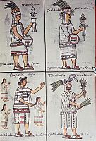 0411620 © Granger - Historical Picture ArchiveARCHAEOLOGY.    Tzapotlatena, Chalchiuhtlatonal, Cioapipitli and Tliltecuhtli, gods of the ancient Mexicans, page from the Florentine Codex, bilingual version in Spanish and Nahuatl, General History of the Things of New Spain (Historia general de las cosas de Nueva Espana), by the Spanish missionary Fray Bernardino de Sahagun (1499-1590). Aztec civilisation,