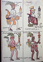 0411621 © Granger - Historical Picture ArchiveARCHAEOLOGY.    Xiuhtecuhtli, Omacatl (or Tezcatlipoca), Macuilxochitl (or Xochipilli) and Ixtlilton, gods of the ancient Mexicans, page from the Florentine Codex, bilingual version in Spanish and Nahuatl, General History of the Things of New Spain (Historia general de las cosas de Nueva Espana), by the Spanish missionary Fray Bernardino de Sahagun (1499-159