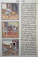 0411642 © Granger - Historical Picture ArchiveARCHAEOLOGY.    Gold processing after the Spanish conquest, page from the Florentine Codex, bilingual version in Spanish and Nahuatl, General History of the Things of New Spain (Historia general de las cosas de Nueva Espana), by the Spanish missionary Fray Bernardino de Sahagun (1499-1590). Aztec civilisation, 16th century. Facsimile. Full credit: De Agostin