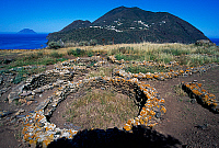 0411794 © Granger - Historical Picture ArchiveARCHAEOLOGY.    Remains of oval huts, prehistoric village of Capo Graziano, Filicudi Island, Aeolian Islands, Sicily, Italy. Full credit: De Agostini / F. Barbagallo / Granger, NYC -- All Rights Reserved.