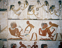 0411865 © Granger - Historical Picture ArchiveARCHAEOLOGY.    Funeral feast with female musicians, women putting on jewellery, men and musicians, detail from the frescoes in the Tomb of Rekhmire, Sheikh Abd el Qurnah Necropolis, Luxor, Thebes (Unesco World Heritage List, 1979), Egypt. Egyptian civilisation, New Kingdom, Dynasty XVIII. Full credit: De Agostini / S. Vannini / Granger, NYC -- All rights re
