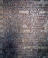 0412257 © Granger - Historical Picture ArchiveARCHAEOLOGY.    Fragment of Fasti Triumphales, 27 BC -14 AD, epigraph on marble. Roman, 1st century BC to the 1st century AD. Full credit: De Agostini Picture Library / Granger, NYC -- All Rights Reserved.