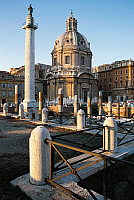 0412658 © Granger - Historical Picture ArchiveARCHAEOLOGY.    Basilica Ulpia and Trajan's Column, Trajan's Forum, Imperial Fora, Rome. Roman, 2nd century AD. Full credit: De Agostini / R. Bazzano / Granger, NYC -- All rights r