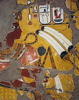 0413974 © Granger - Historical Picture ArchiveARCHAEOLOGY.    Amenhotep III with flabellum, sceptre and flail, painting from the Tomb of Amenhotep III at Thebes. Egyptian Civilisation, New Kingdom, Dynasty XVIII. Full credit: De Agostini / G. Dagli Orti / Granger, NYC -- All rights res