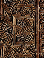 0413984 © Granger - Historical Picture ArchiveARCHAEOLOGY.    Mihrab niche to the mausoleum of Sayyida Ruqiyya, wood, donated by Ulam al-Ameriyya, wife of the Caliph al-Amir bi-Ahkam Allah, Cairo, Egypt. Detail. Fatimid Civilisation, 12th century. Full credit: De Agostini / G. Dagli Orti / Granger, NYC -- All rights reserved.