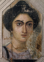 0413986 © Granger - Historical Picture ArchiveARCHAEOLOGY.    Female portrait, tempera on wood, from Fayoum. Egyptian Civilisation, Roman Empire. Full credit: De Agostini / G. Nimatallah / Granger, NYC -- All rights reserved.