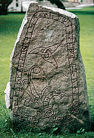 0414158 © Granger - Historical Picture ArchiveARCHAEOLOGY.    Rune stone, Oland island, Sweden. Viking civilisation. Full credit: De Agostini / M. Seemuller / Granger, NYC -- All Rights Reserved.