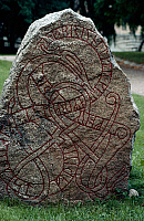 0414161 © Granger - Historical Picture ArchiveARCHAEOLOGY.    Rune stone, Oland island, Sweden. Viking civilisation. Full credit: De Agostini / M. Seemuller / Granger, NYC -- All Rights Reserved.