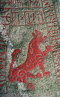0414162 © Granger - Historical Picture ArchiveARCHAEOLOGY.    Rune stone, Oland island, Sweden. Viking civilisation. Full credit: De Agostini / M. Seemuller / Granger, NYC -- All Rights Reserved.