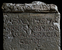 0414260 © Granger - Historical Picture ArchiveARCHAEOLOGY.    Base of a votive offering to Marco Fulvio Nobiliore to commemorate the victory at Ambracia. Roman Civilisation, 2nd century BC. Full credit: De Agostini / A. Dagli Orti / Granger, NYC -- All rights reserved.