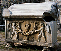 0414441 © Granger - Historical Picture ArchiveARCHAEOLOGY.    Sarcophagus with a relief of angels bearing a wreath, uncovered from Turkey. Hellenistic Civilisation, 4th century. Full credit: De Agostini / G. Dagli Orti / Granger, NYC -- All Rights Reserved.