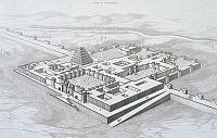 0414480 © Granger - Historical Picture ArchiveARCHAEOLOGY.    Reconstruction of the Royal Palace of Sargon II at Khorsabad, seen from the south-east with the outline of the wall, engraving by Felix Thomas, from Nineveh Et D' Assyrie, by Victor Place, Paris. 19th century. Full credit: De Agostini / M. Seemuller / Granger, NYC -- All rights reser