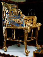 0414747 © Granger - Historical Picture ArchiveARCHAEOLOGY.    Royal throne of Tutankhamun, wood, gold leaf, silver, glass gems and precious stones, from the Pharaoh's tomb in Thebes, Egypt. Egyptian civilisation, New Kingdom, Dynasty XVIII. Full credit: De Agostini / A. Jemolo / Granger, NYC -- All Rights Reserved.