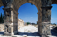 0414784 © Granger - Historical Picture ArchiveARCHAEOLOGY.    Frontinus gate or North gate and street of proconsul Julius Frontinus, Hierapolis-Pamukkale (Unesco World Heritage List, 1988), Turkey. Roman civilisation, 1st-3rd century. Full credit: De Agostini Picture Library / Granger, NYC -- All Rights Reserved.