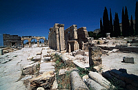 0414790 © Granger - Historical Picture ArchiveARCHAEOLOGY.    Frontinus gate or North gate and street of proconsul Julius Frontinus, Hierapolis-Pamukkale (Unesco World Heritage List, 1988), Phrygia, Turkey. Roman civilisation, 1st-3rd century. Full credit: De Agostini Picture Library / Granger, NYC -- All rights reserved.