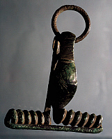 0415760 © Granger - Historical Picture ArchiveARCHAEOLOGY.    Bronze fibula, shrimp shaped, from Aslago, Bolzano, Trentino-Alto Adige, Italy. Roman Civilisation, 1st century. Full credit: De Agostini / A. Dagli Orti / Granger, NYC -- All Rights Reserved.