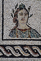 0415931 © Granger - Historical Picture ArchiveARCHAEOLOGY.    Mosaic depicting female face with head surrounded by laurel, Isola Sacra Necropolis, Fiumicino, Lazio. Roman civilisation, 1st century BC. Full credit: De Agostini / S. Vannini / Granger, NYC -- All rights reserved.