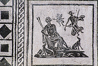0415932 © Granger - Historical Picture ArchiveARCHAEOLOGY.    Mosaic depicting men armed with spears and dogs, Isola Sacra Necropolis, Fiumicino, Lazio. Roman civilisation, 1st century BC. Full credit: De Agostini / S. Vannini / Granger, NYC -- All rights reserved.
