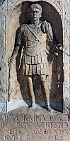 0416146 © Granger - Historical Picture ArchiveARCHAEOLOGY.    Stele of Marcus Favonius Facilis, a centurion of the 20th Legion, England, United Kingdom. Roman civilisation, 1st century. Full credit: De Agostini Picture Library / Granger, NYC -- All rights reserved.