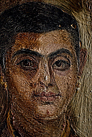 0416383 © Granger - Historical Picture ArchiveARCHAEOLOGY.    Portrait of a man, encaustic painting on wooden panel, height 42 cm, from Fayoum. Detail. Egyptian Civilisation, Roman Empire, 1st-2nd century. Full credit: De Agostini / G. Dagli Orti / Granger, NYC -- All rights reserved.