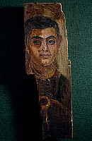 0416401 © Granger - Historical Picture ArchiveARCHAEOLOGY.    Portrait of a man, encaustic painting on wooden tablet, height 42 cm, from Fayoum. Egyptian Civilisation, Roman Empire, 1st-2nd century. Full credit: De Agostini / G. Dagli Orti / Granger, NYC -- All rights reserved.
